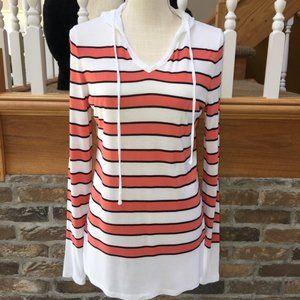 Talbots Orange Stripe Hooded Top